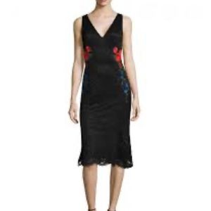 NWT Nicole Miller New York Black Lace Floral Dress